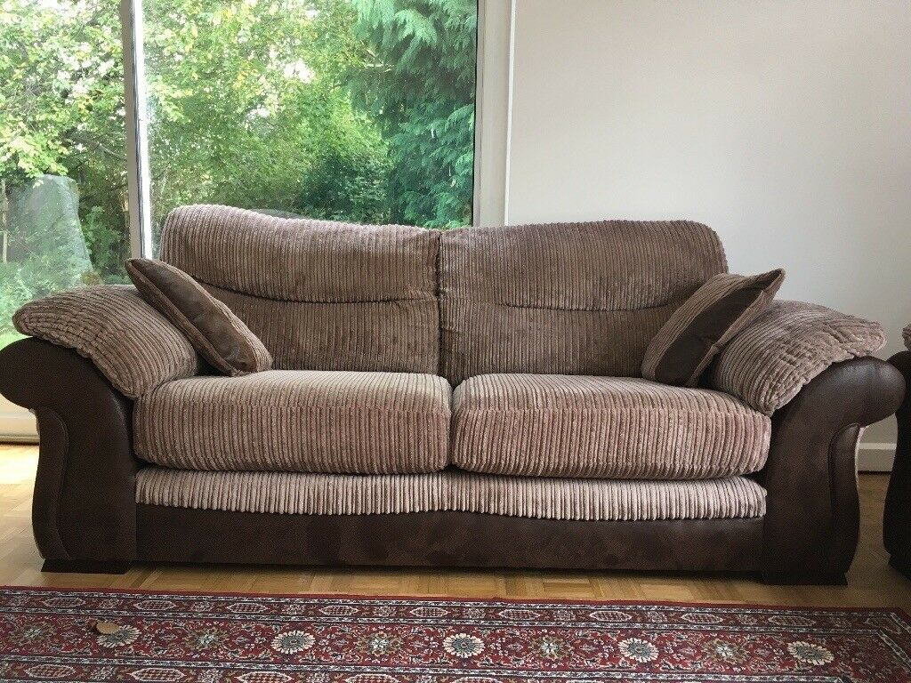 Leather Sofas In Eastbourne 2 Three Seater Dfs Sofas- Nutmeg And Brown | In Eastbourne