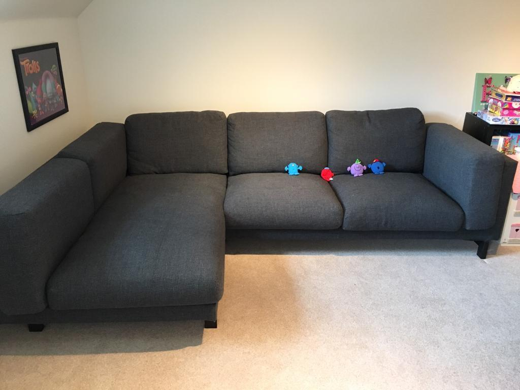 Ikea Nockeby Sofa Ikea Nockeby Sofa W Chaise Longue - Dark Grey | In