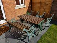 Wrought iron metal and wood garden furniture set - chairs ...