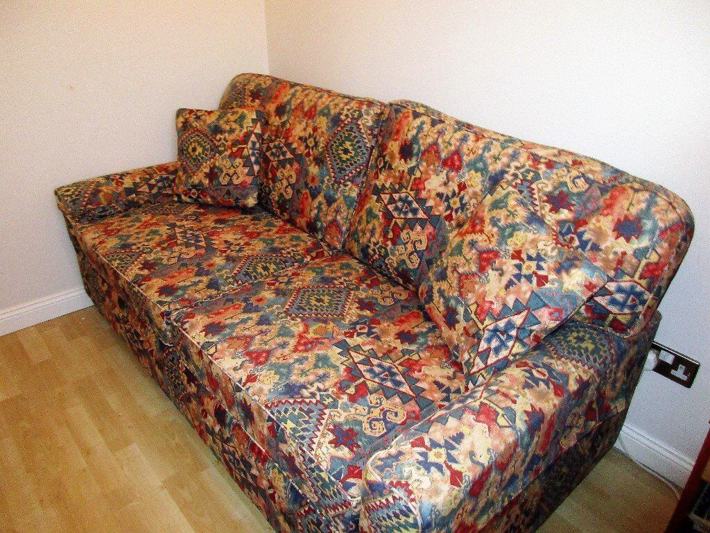 Relyon Double Metal Frame Sofa Bed In Multi Print Cotton