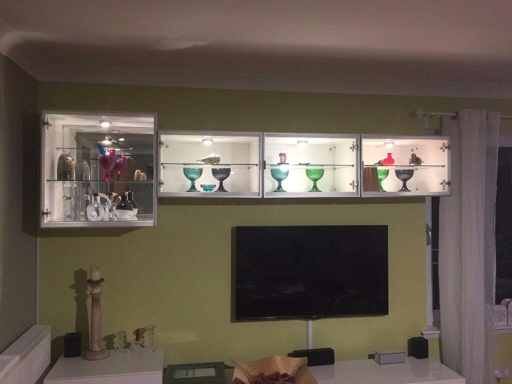 Ikea Besta Display Shelf Unit Height Extension Glass Doors Cabinet