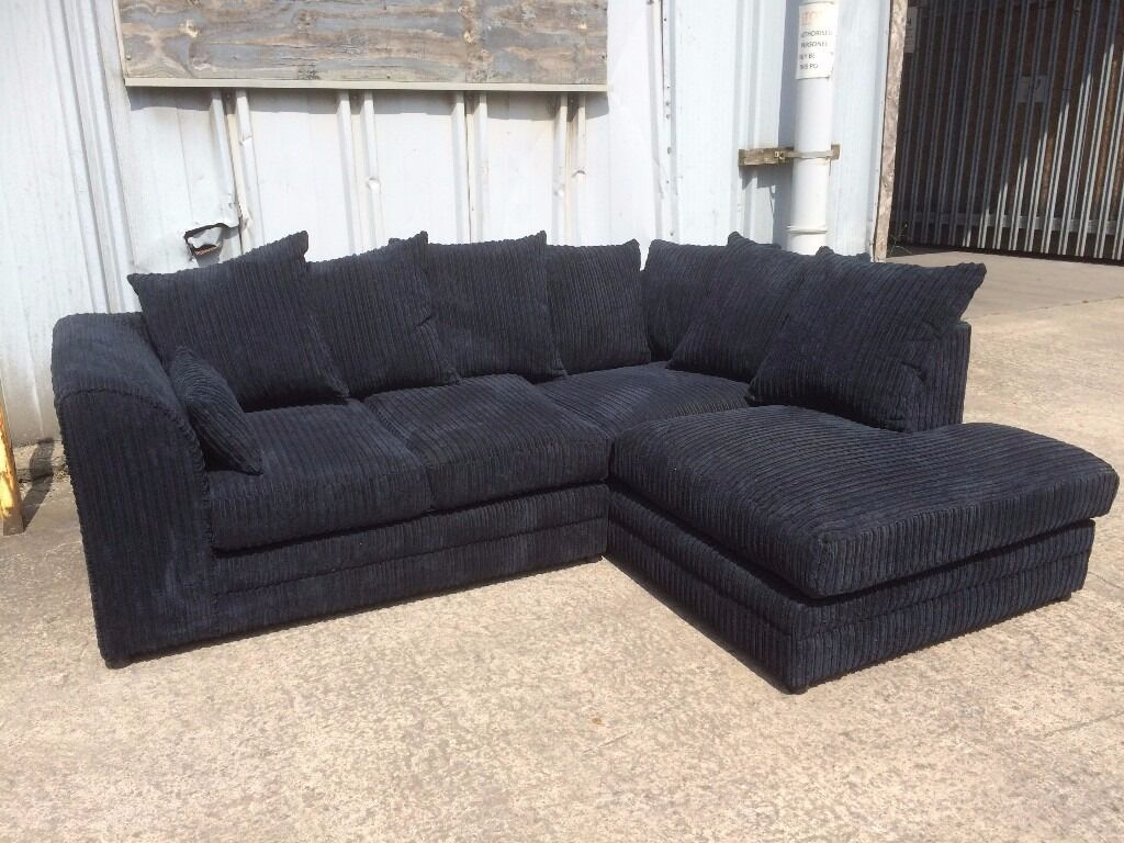 Couch Cord Black Jumbo Cord Corner Sofa With Left Hand Chaise Effect