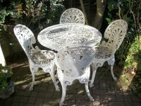 Shabby chic pretty white metal garden table and chairs ...