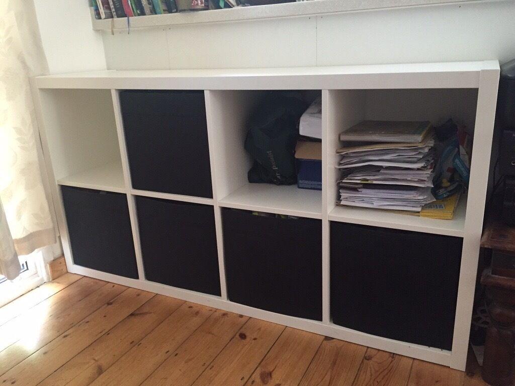 Ikea Kallax Shelving Unit White With 5 Box Inserts