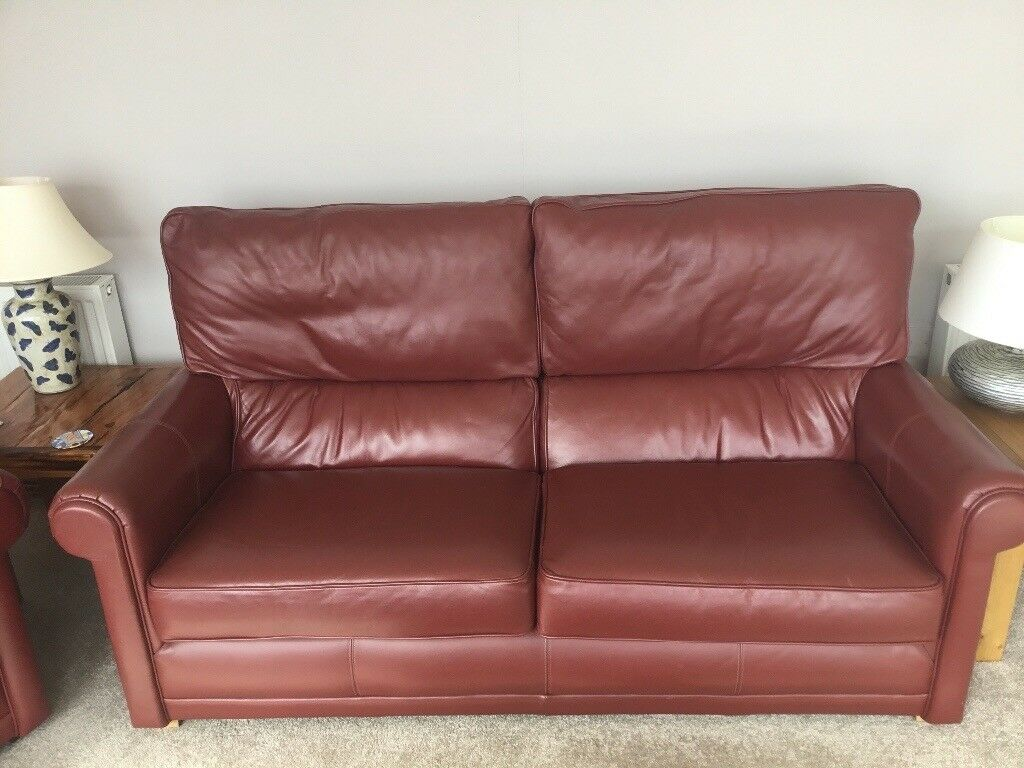 Red Leather Sofa And Matching Chair In Leven Fife Gumtree
