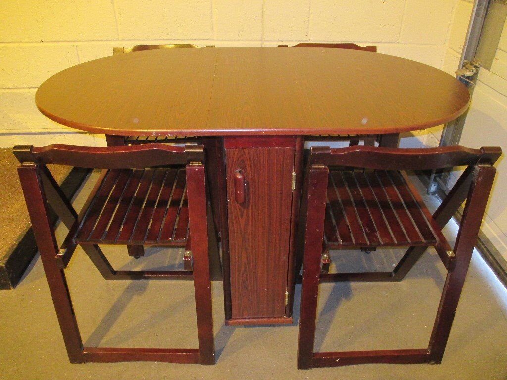 Gate Leg Drop Leaf Dining Table With Four 4 Folding Chairs