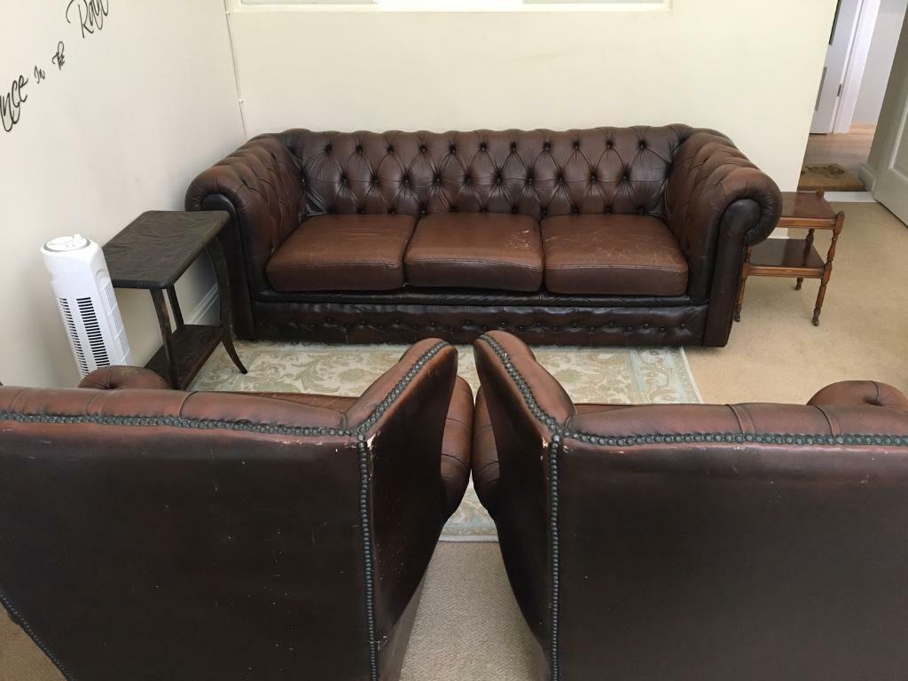 2 Seater Chesterfield Sofa Gumtree Vintage Chesterfield 3 Seater Sofa And 2 High Back Wing