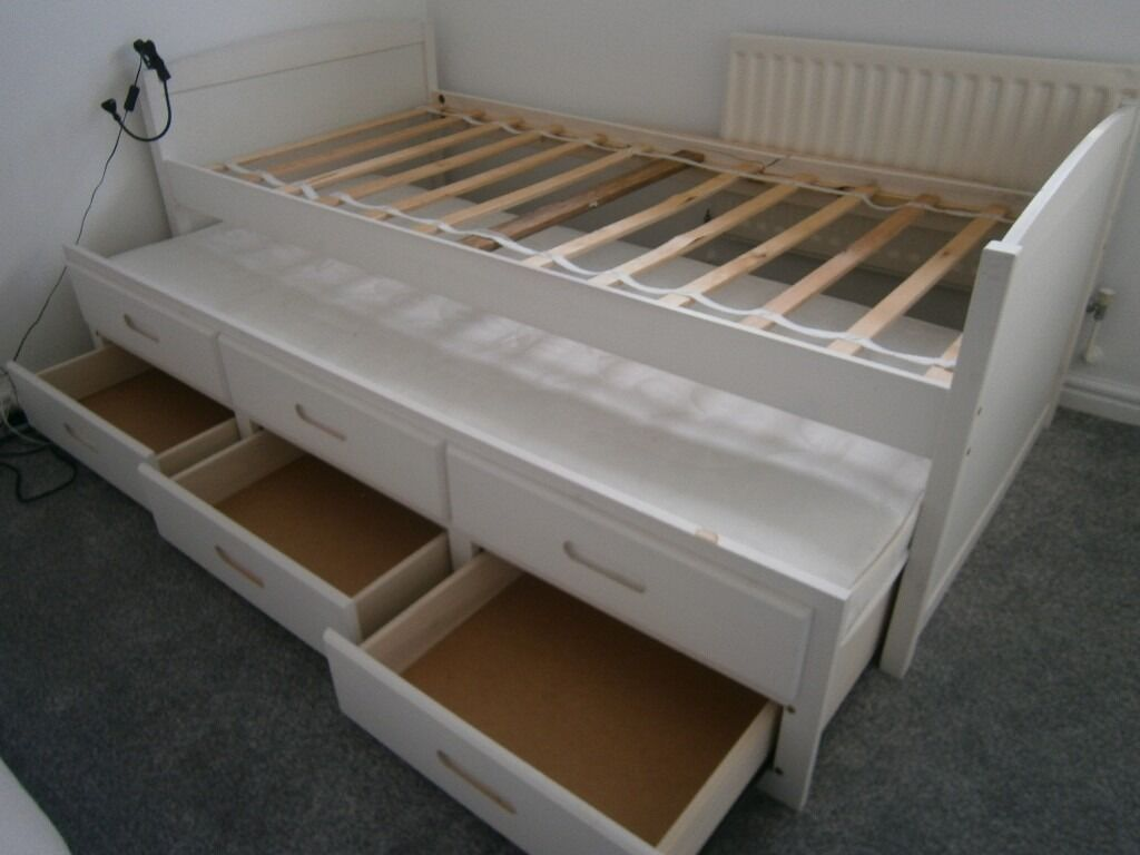 Single Bed With Storage Drawers White Single Bed Frame With Pull Out Guest Bed Including
