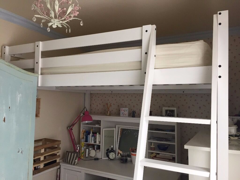 White Double Loft Bed From Ikea Stora Includes All
