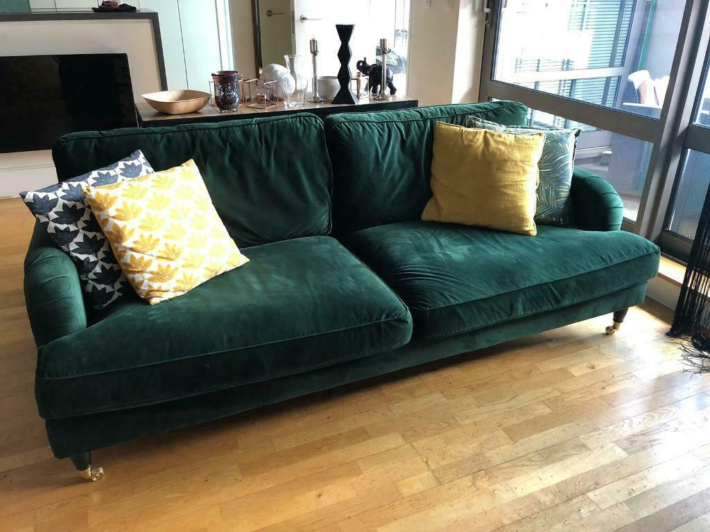 Dunelm Rupert 3 Seater Bottle Green Velvet Sofa In