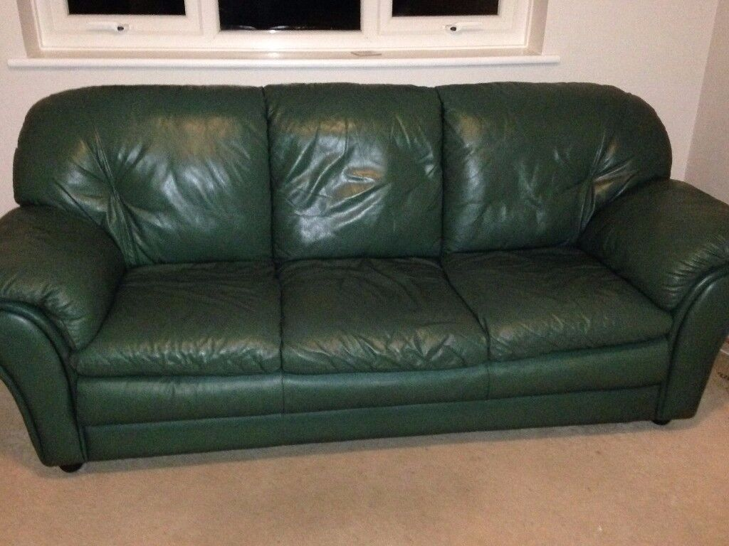 Max Divani Leather Sofa Italian Max Divani Green Leather Sofa In Tadworth