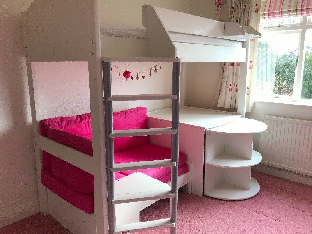 Cabin Bed With Pull Out Desk Stompa Casa 4 High Sleeper Bed With Pull Out Bed For Sleep