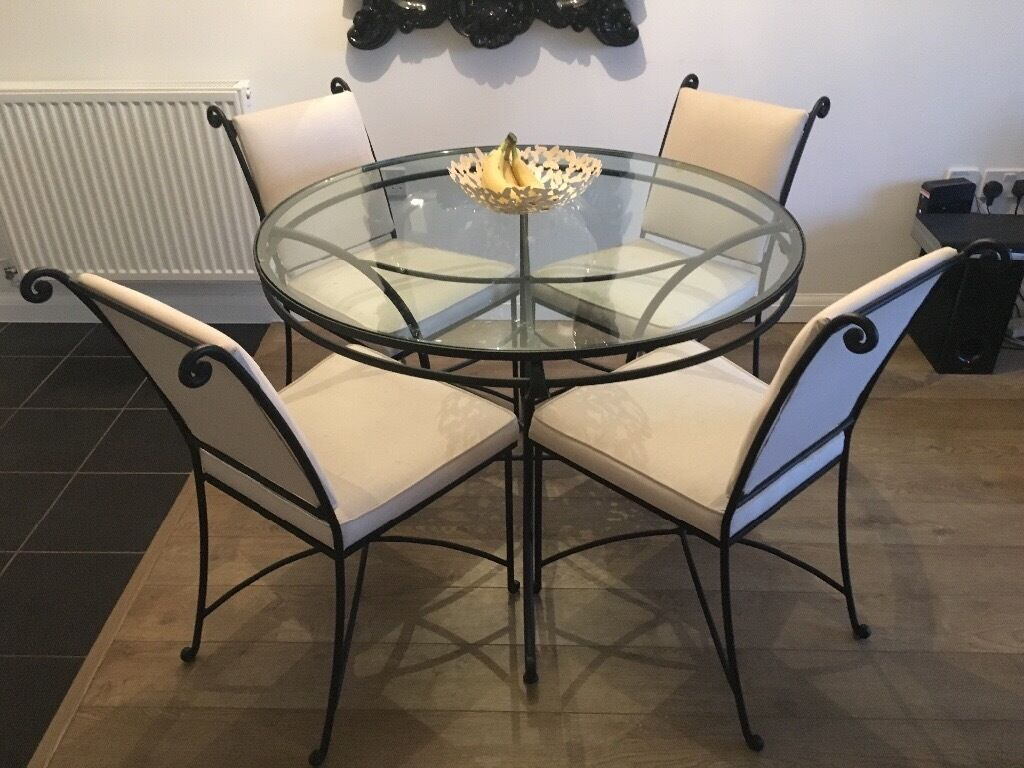 Marks Spencer Wrought Iron Glass Round Table 4 Chairs