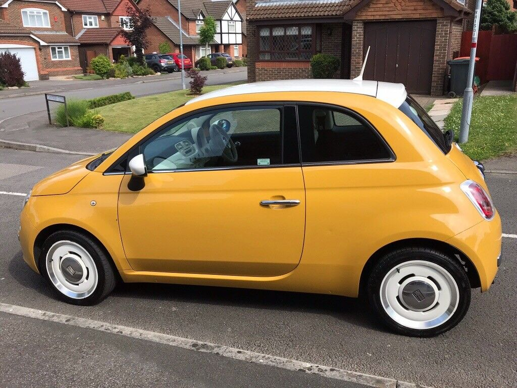 Fiat 500 Retro Fiat 500 Vintage 57 2015 Yellow With White Roof In