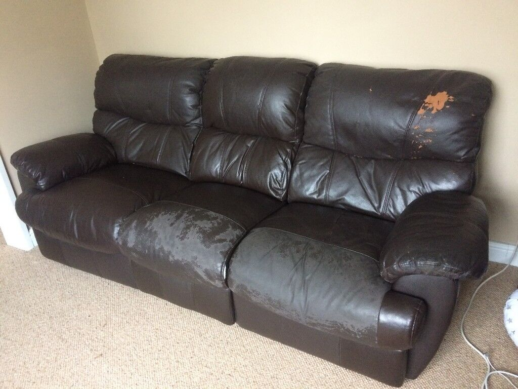 Leather Recliner Gumtree Glasgow 3 Seater Recliner Sofa Brown Faux Leather In