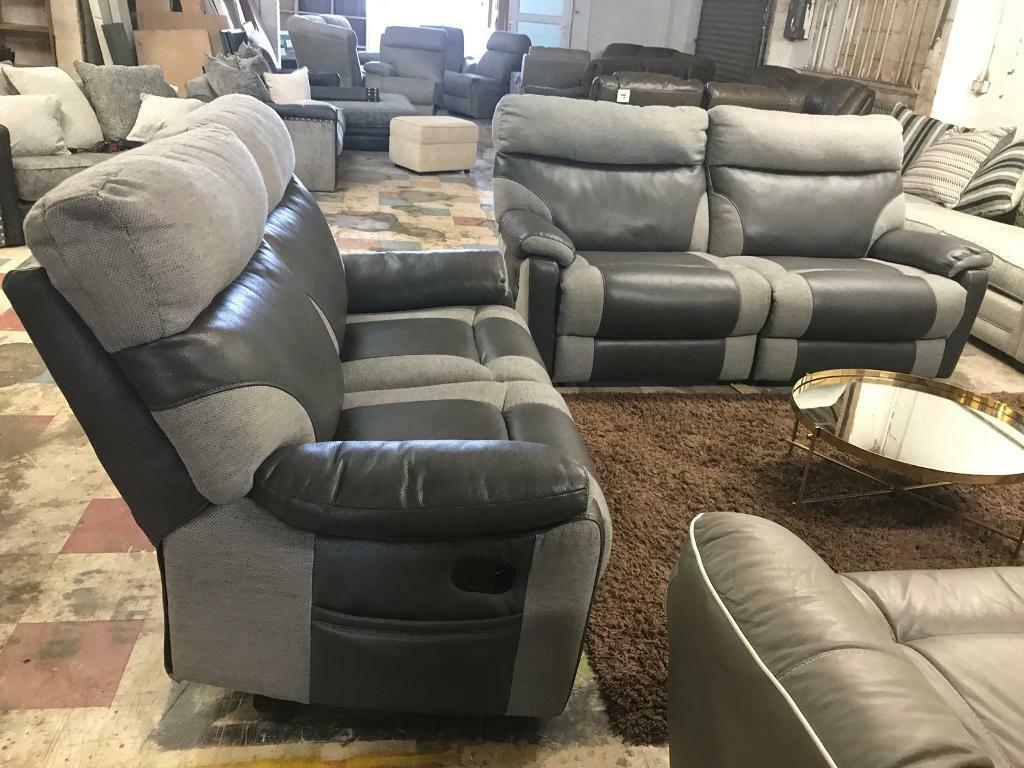 Grey Half Couch Half Leather Half Fabric Sofa Half Leather Fabric Sofa