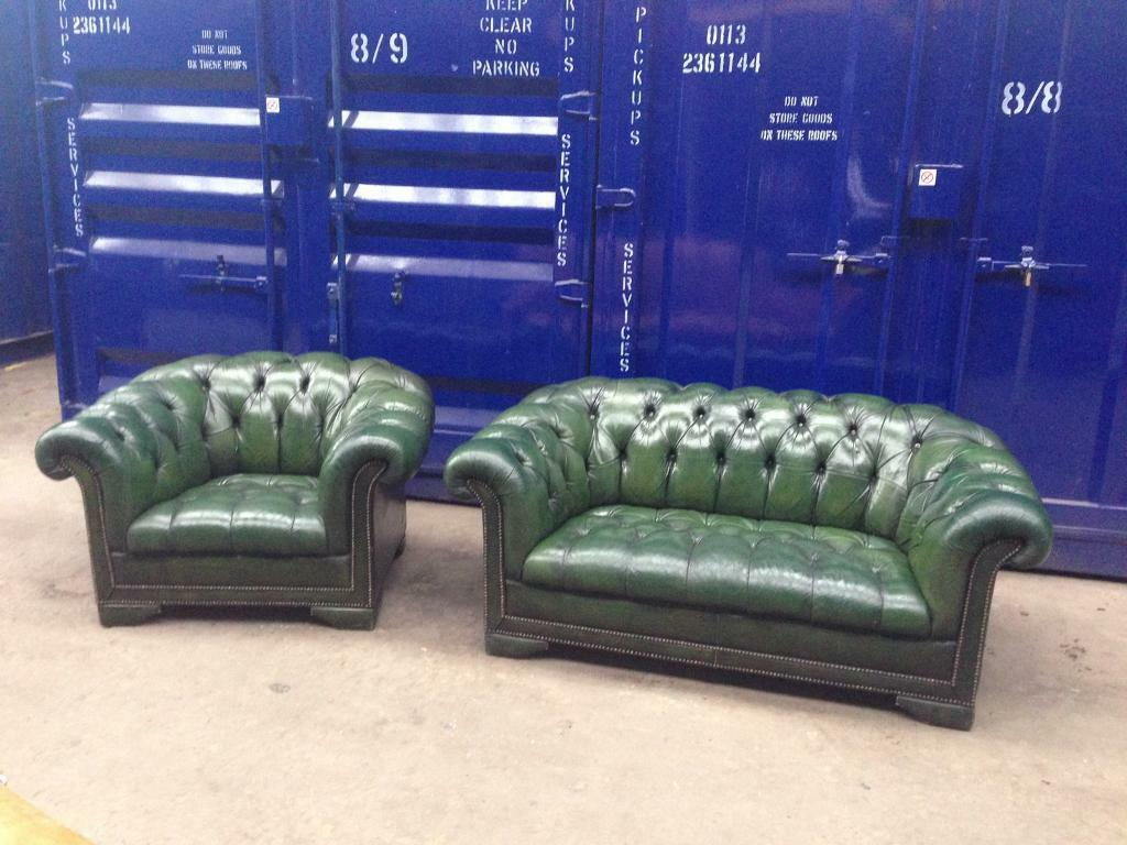 2 Seater Chesterfield Sofa Gumtree Genuine Vintage Iconic Antique Leather Buttoned Seat