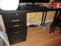 Ikea Office Study Alex 5 Drawer Unit & Linnmon Black-Brown ...