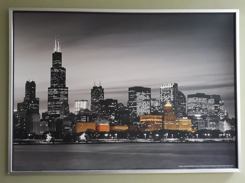 Ikea Near Chicago Ikea Large Chicago City Night Skyline Print | In Oxted