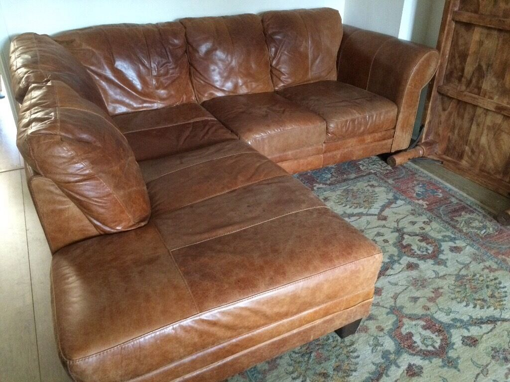 Dfs Rustic Leather Corner Sofa In Hartley Wintney
