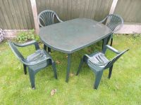 Patio Garden Furniture set - large plastic table and 4 ...