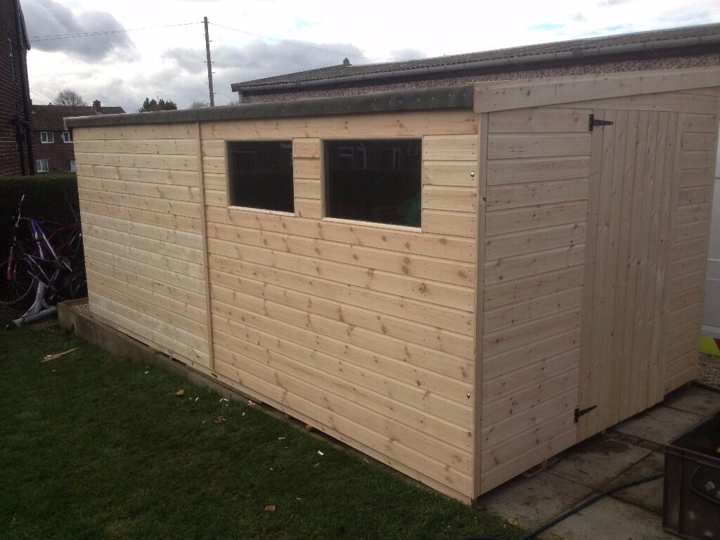 Garden pent shed workshop 10x8 heavy duty tongue and groove well made buildings nottinghamshire