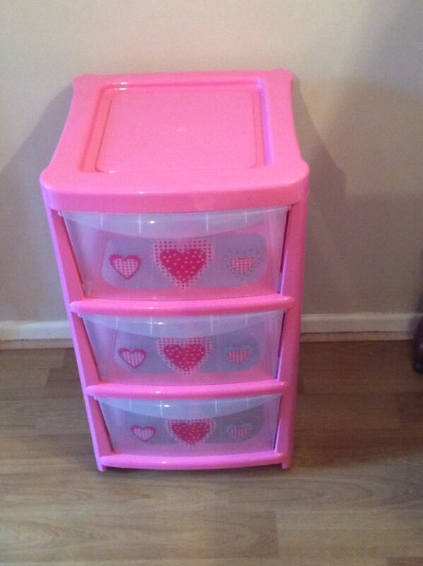 Bedroom Corner Storage Units 3 Drawer Pink Plastic Storage Chest/trolley With Heart
