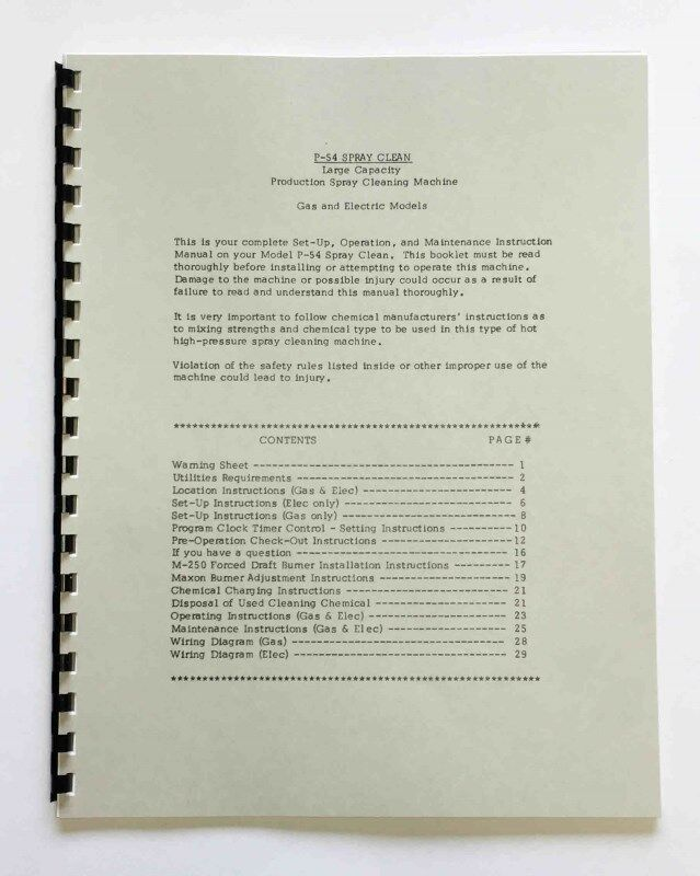 Peterson Model P54 Jet Washer Manual eBay