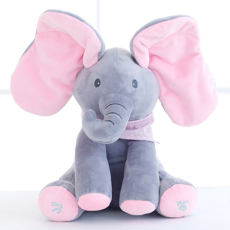 Peek A Boo Elephant Baby Plush Toy Singing Stuffed Pink