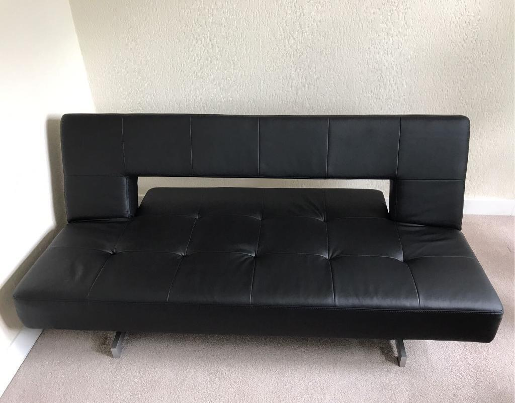 Leather Recliner Gumtree Glasgow Dwell Pisa Black Faux Leather Sofa Bed In Newlands
