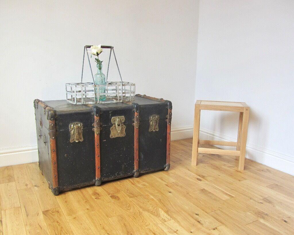 Vintage Bentwood Steamer Trunk Coffee Table Storage