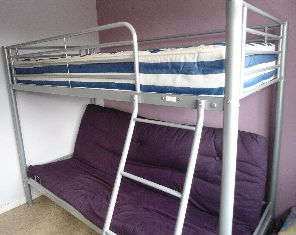 Metal High Sleeper Bed Futon Double Sofa Bed Ladder In