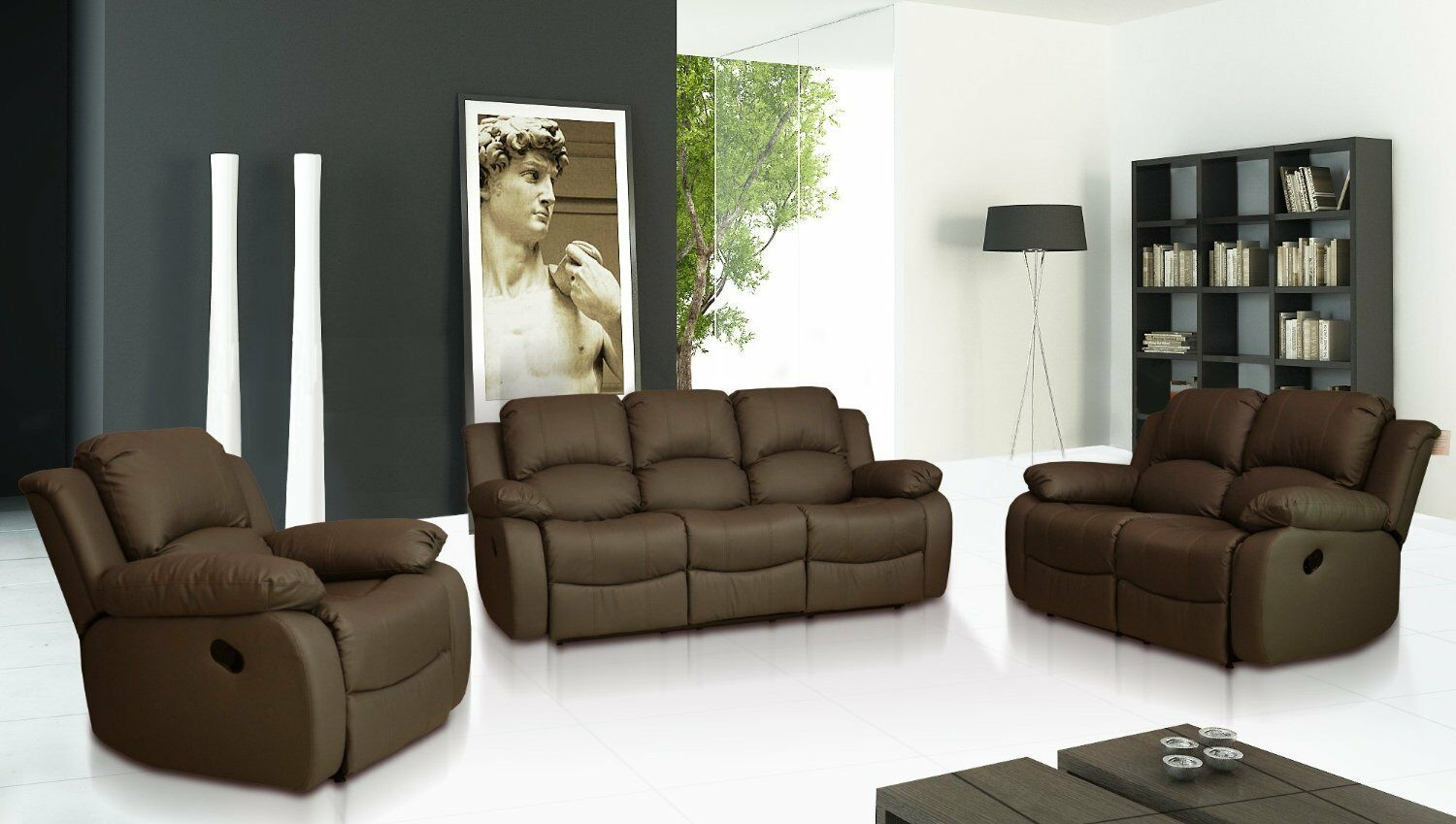 Sofa Set For Sale Ebay Valencia 3 432 431 Seater Leather Recliner Sofas Black Brown