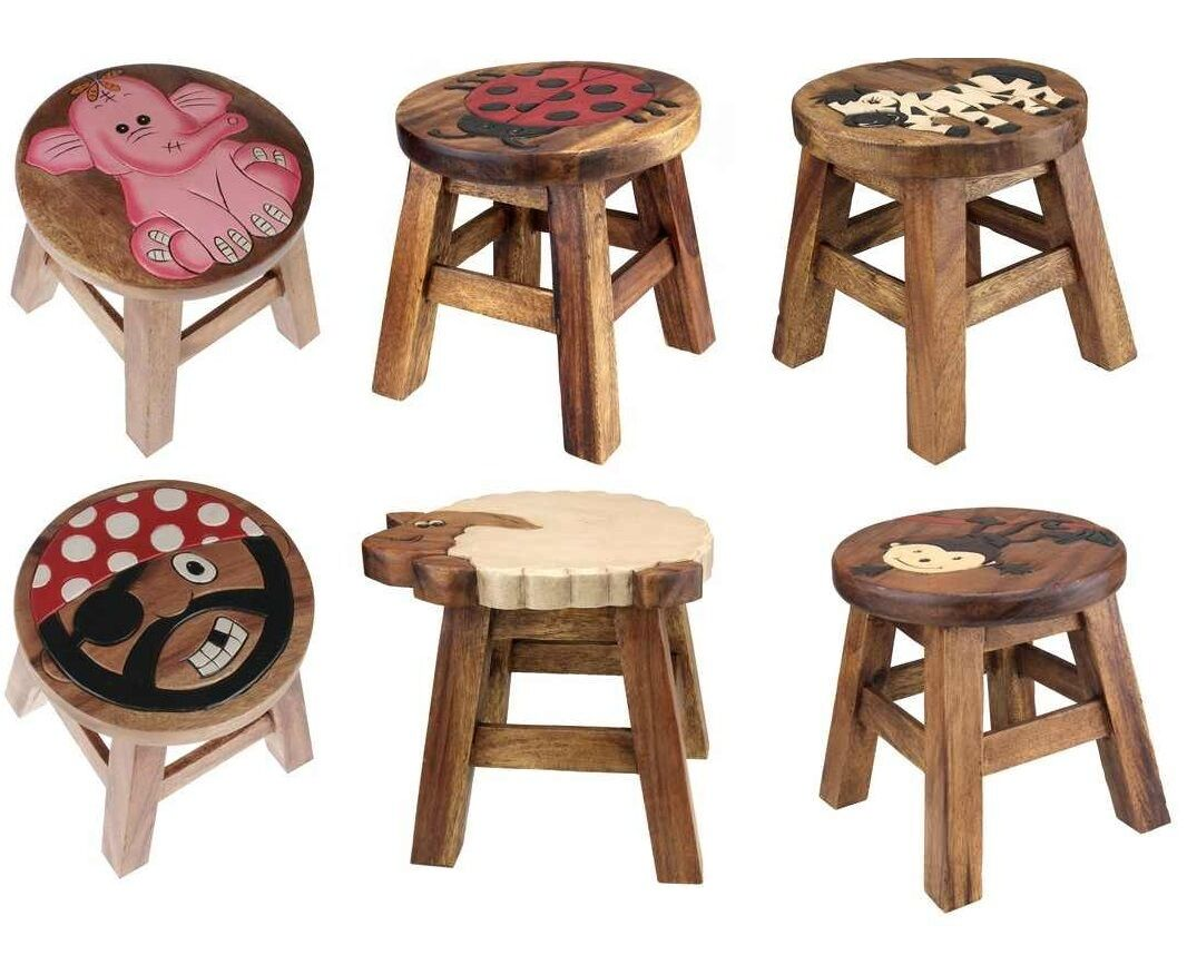 Kids Wooden Stool Kids Wooden Step Stool Brown Solid Wood Chair Seat Hand