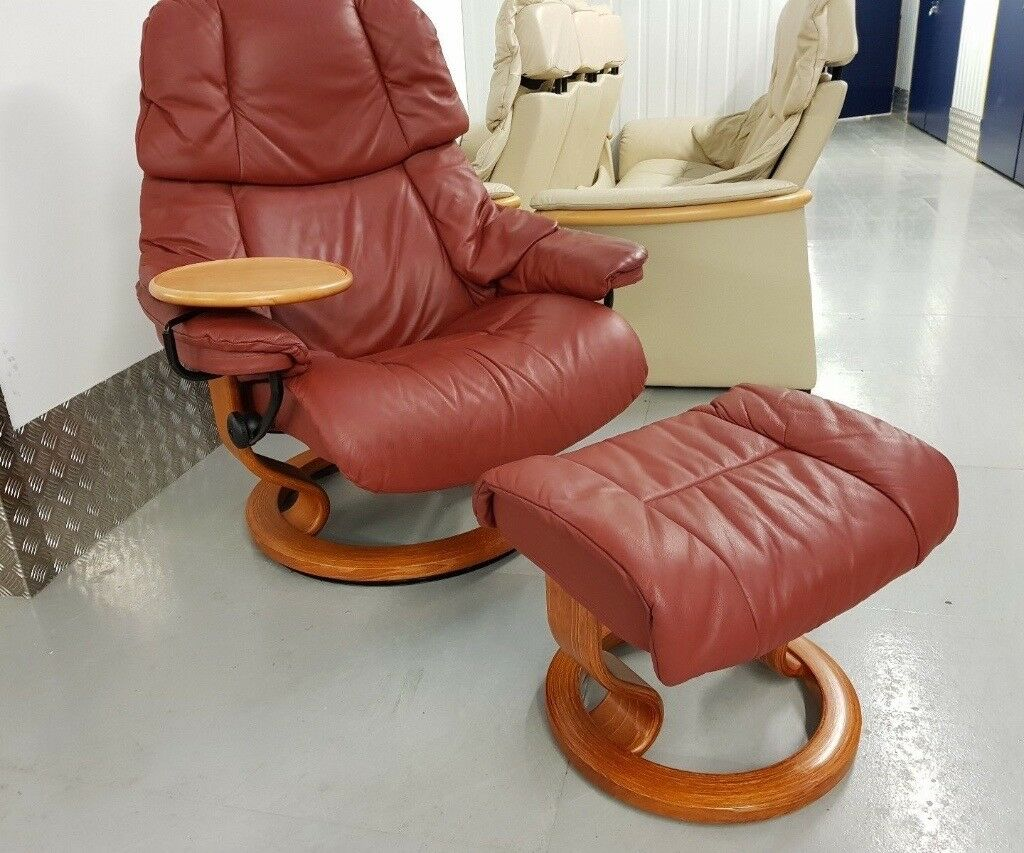 Leather Recliner Gumtree Glasgow Ekornes Stressless Red Swivel Recliner Leather Chair And