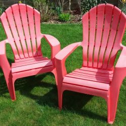 2 Stackable Red Plastic Garden Patio Chairs From Dunelm in Taunton