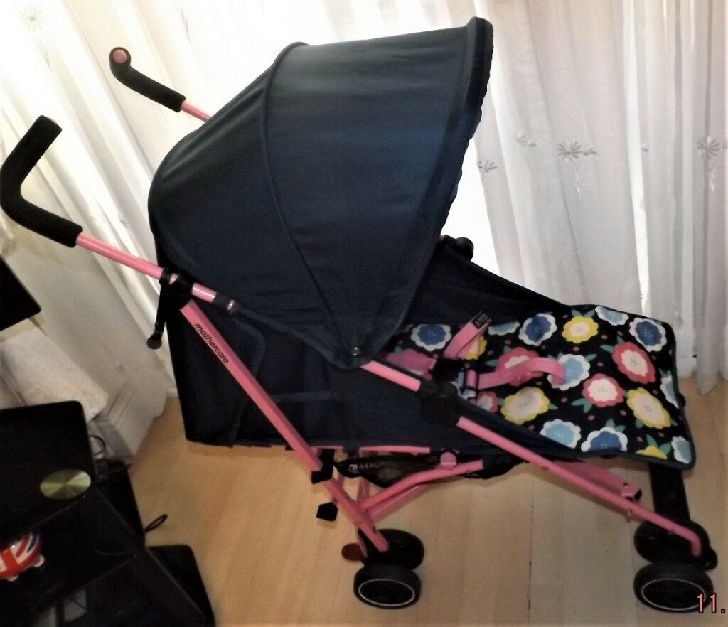 Silver Cross Elegance Buggy Board Mothercare Pushchair Pram In Navy With Floral Seat And