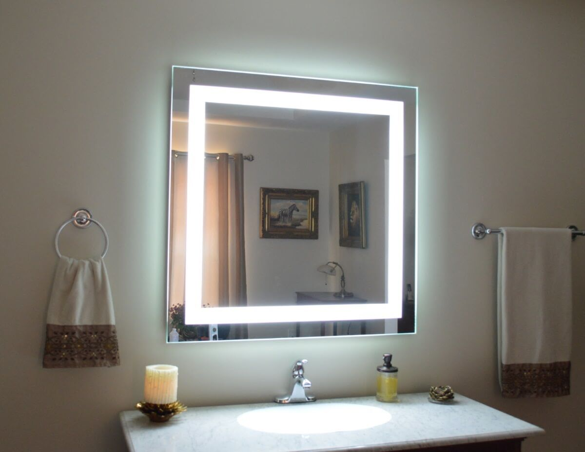 "MAM84040 40"" x 40"" lighted vanity mirror, wall mounted"