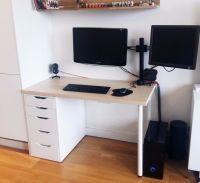 IKEA Linnmon / Alex Desk with 5 drawers. Birch / white. 1 ...