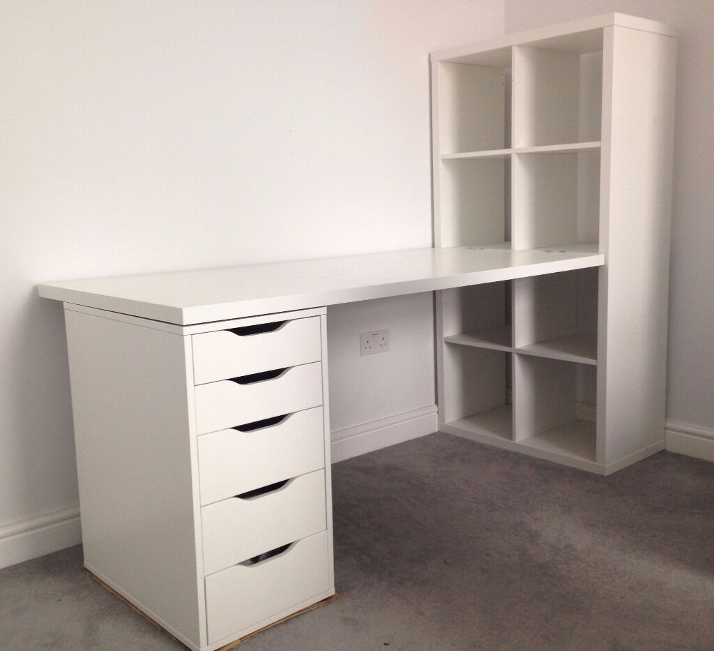 Ikea Schreibtisch Mit Schubladen White Ikea Desk With Drawers And Shelves | In Hammersmith