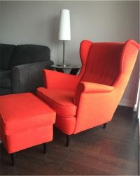 Ikea Strandmon Armchair Orange /red and stool | in ...
