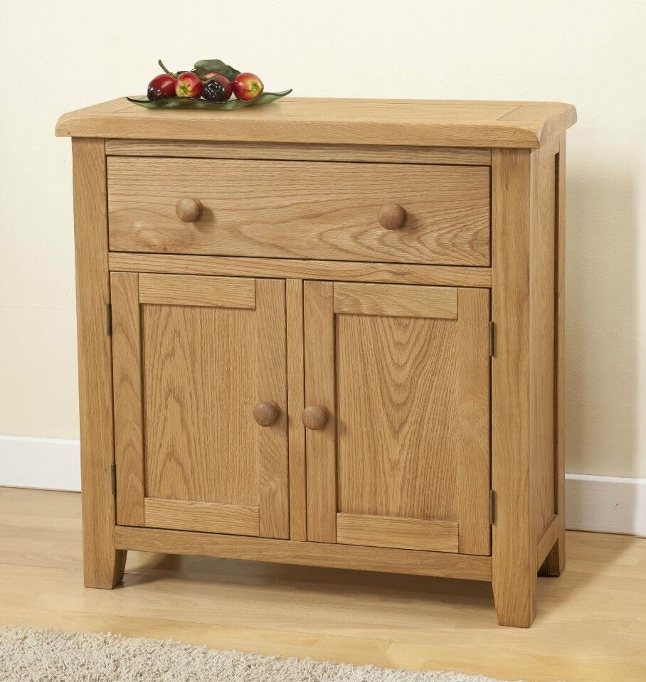 Sideboard Vitrine Solid Chunky Wood Rustic Oak Small Compact Sideboard