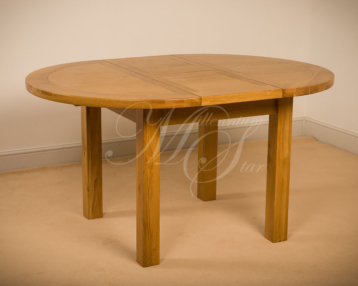 Msl Solid Wood Chunky Oak Round Extending Dining Table Ebay