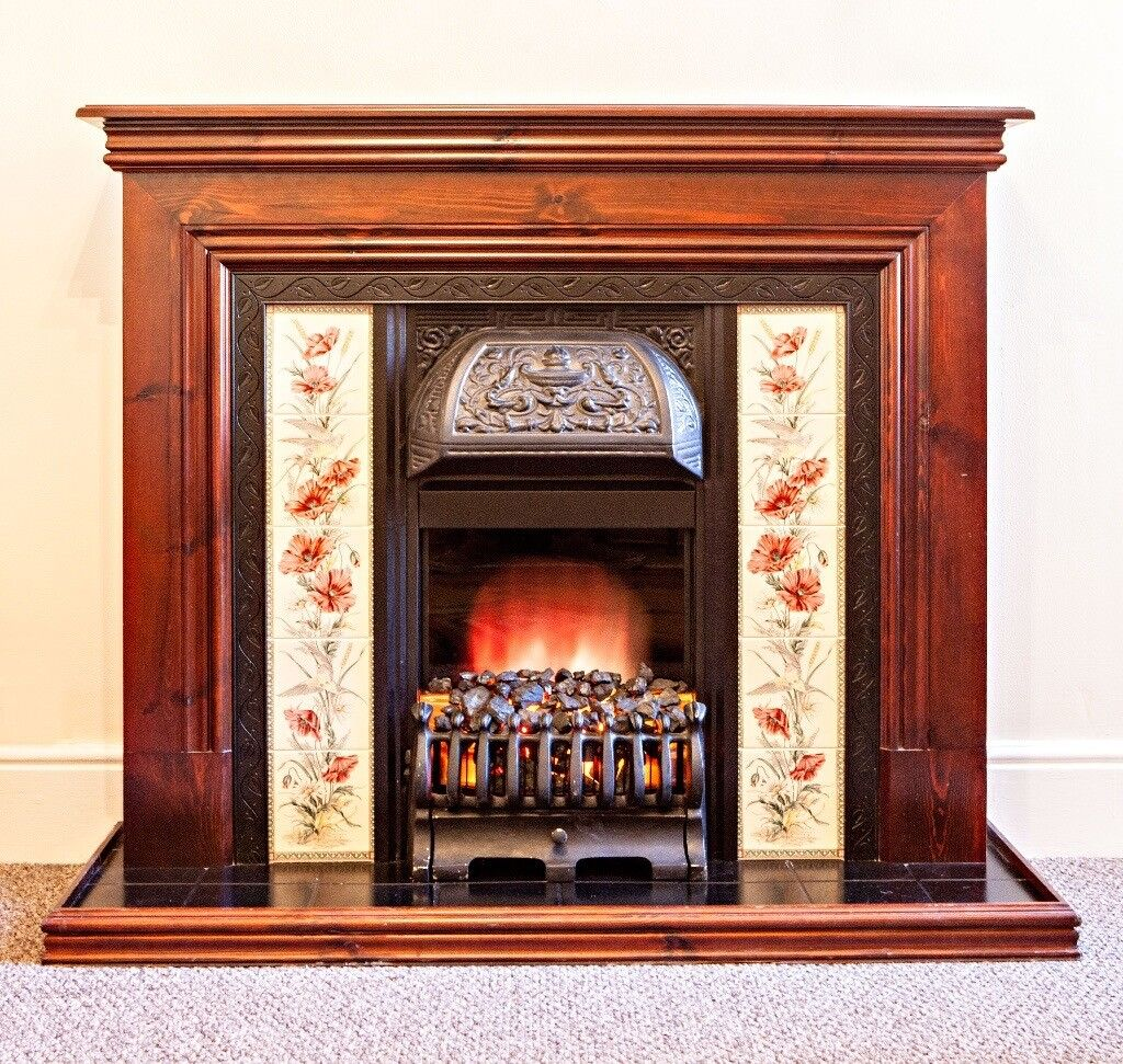 Electric Coal Fireplace Victorian Style Fireplace With Wooden Mantelpiece Tiled