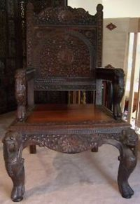 Vintage Antique Asia Oriental India Chair Wood Hand Carved ...