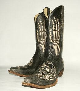 Skull Bone Inlay Corral Men39s Black Crackle Western Boot