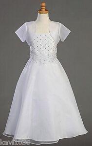 Girls First Holy Communion Dress w/Beadwork & Bolero Plus