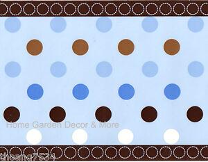 Wallpaper Border For Girl Nursery George Baby Avalon Blue Circles Brown Polka Dots Nursery