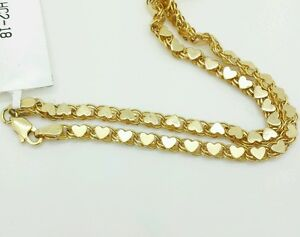 14k Solid Yellow Gold Heart Link Bracelet Chain 7quot 33mm