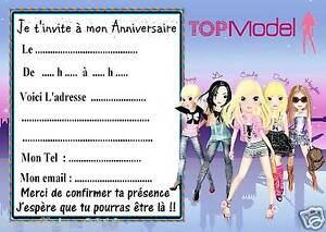 5 Cartes Invitations Anniversaire Top Model 01 Ebay